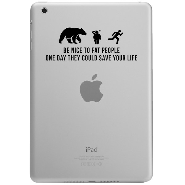 Nice Fat People Funny Chasing Bear Ipad Tablet Vinyl Sticker Decal