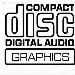 Compact disc digital audio graphics decal, vinyl decal