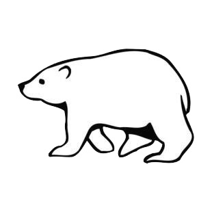 Side view of walking polar bear bears decals, decal