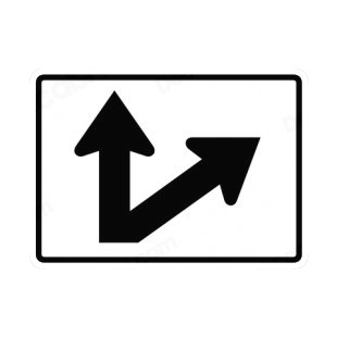 Go straight or right exit route sign road signs decals
