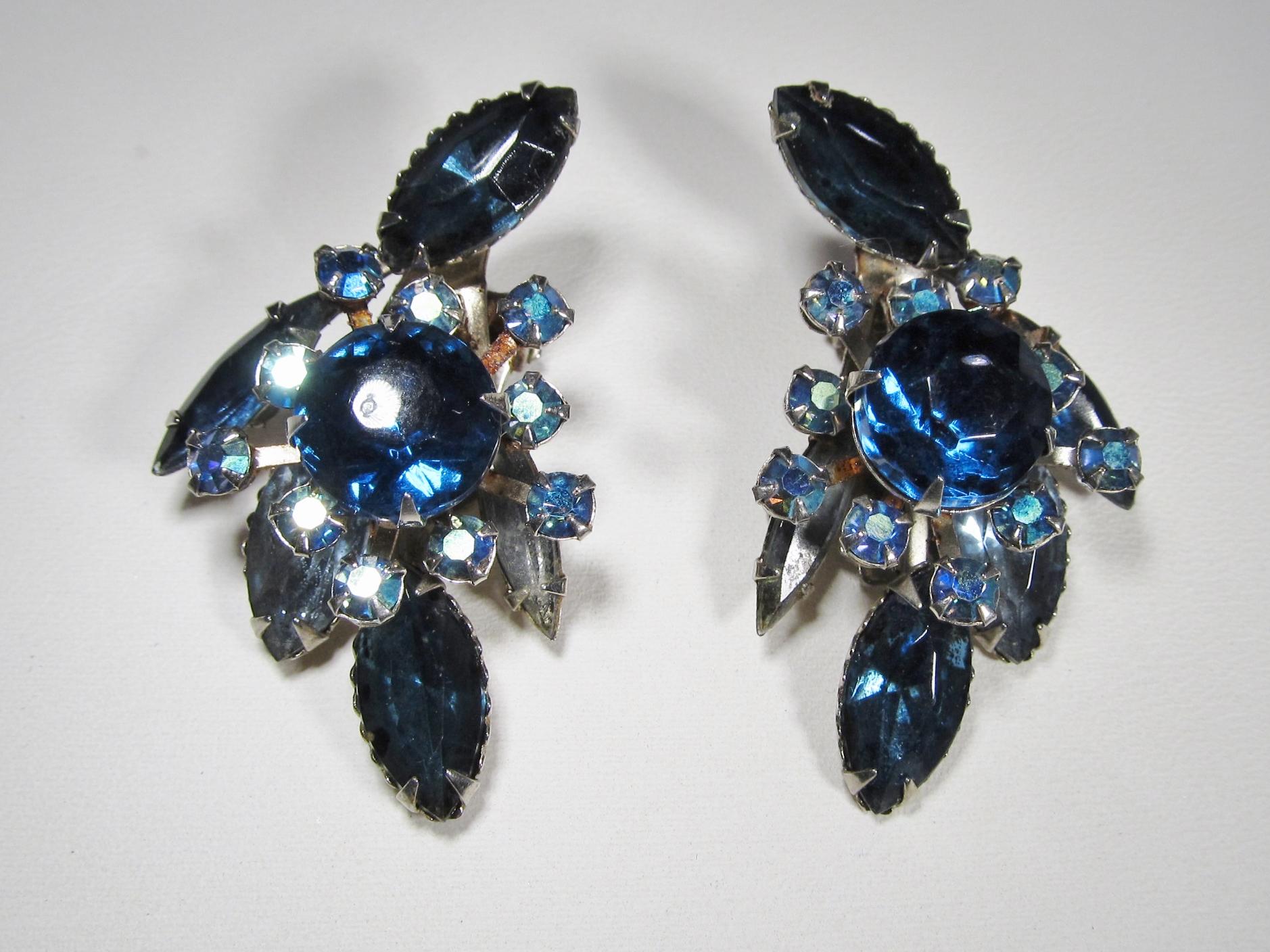 Beau Jewels Blue Rhinestone Aurora Borealis Clip Earrings