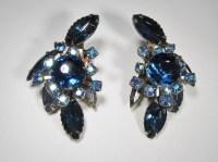 Beau Jewels Blue Rhinestone Aurora Borealis Clip Earrings ...