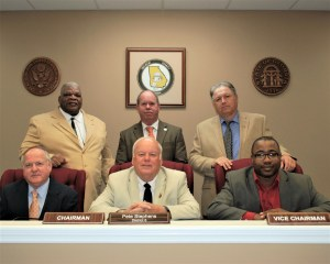 Decatur County Board of County Commissioners. From the left, front row, are Commissioner Greg Murray, Chairman Pete Stephens and Vice Chairman Dennis Brinson; back row, Commissioners George Anderson, Rusty Davis and Steve Brock.