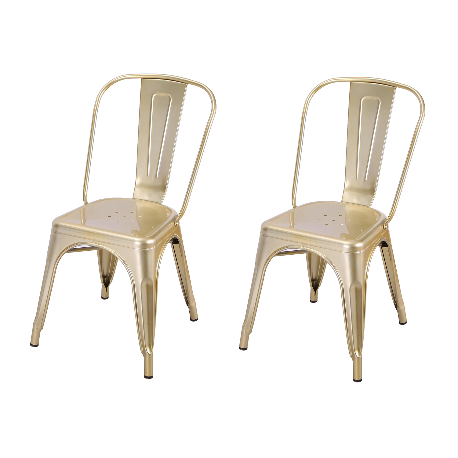 gold dining chairs amazon uk garden chair covers decenthome light metal set of two en stackable tolix style industrial chic bistro cafe