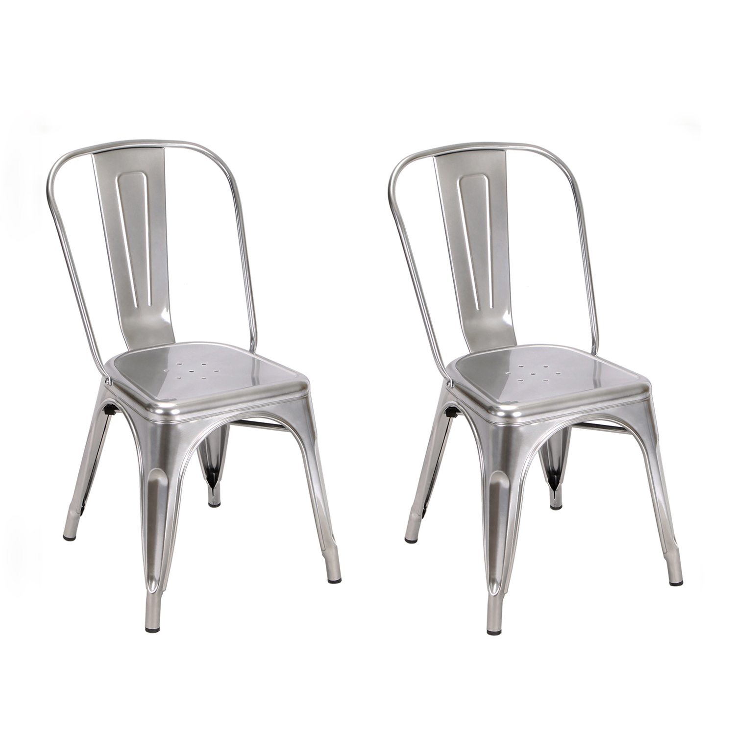 silver metal dining chairs folding barber chair decenthome white