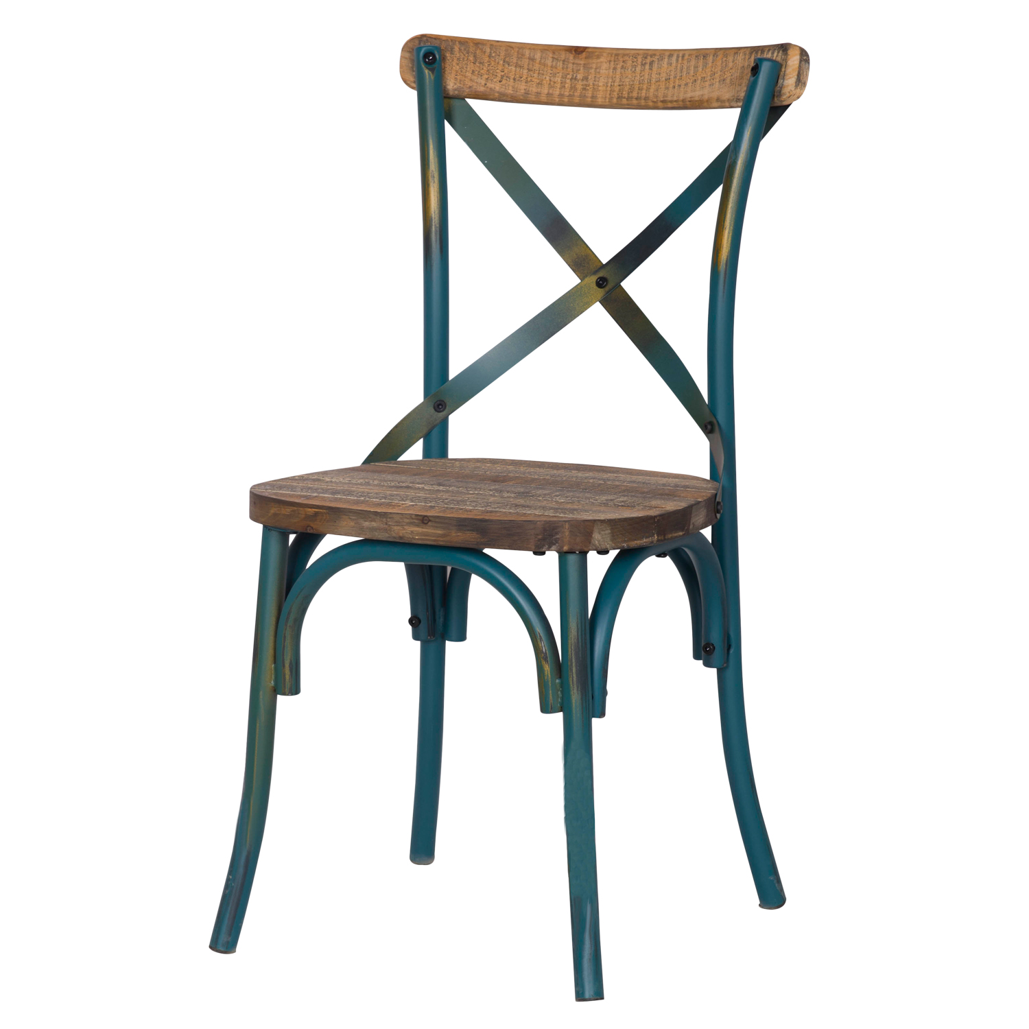 rustic metal dining chairs long chair couch sofa decenthome blue ch0282 4 ach282 distressed with cross back designed