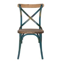 DecentHome Rustic Blue Metal Dining Chair - CH0282-4 ...