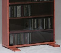 DVD rack with 72 inch glass doors in maple with Minwax ...