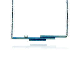 Blue titanium triple bar necklace with pearl - Nautilus Collection by Decimononic