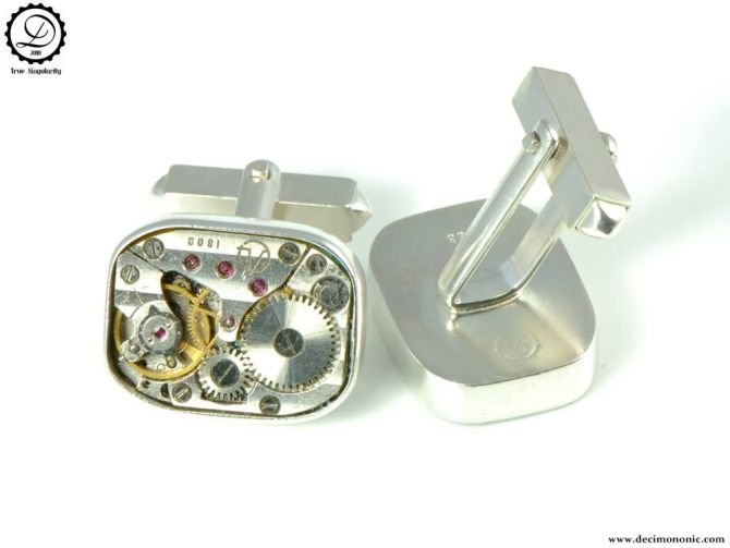 Air Privateer Cufflinks by Decimononic | Sterling silver cufflinks with vintage watch movement