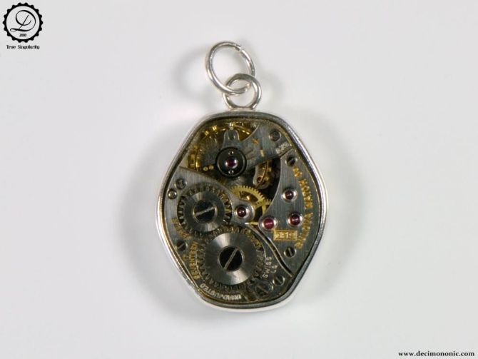 Gamma Charm by Decimononic - Steampunk pendant with vintage watch movement