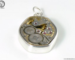 Gamma Charm by Decimononic - Steampunk pendant with vintage watch movement