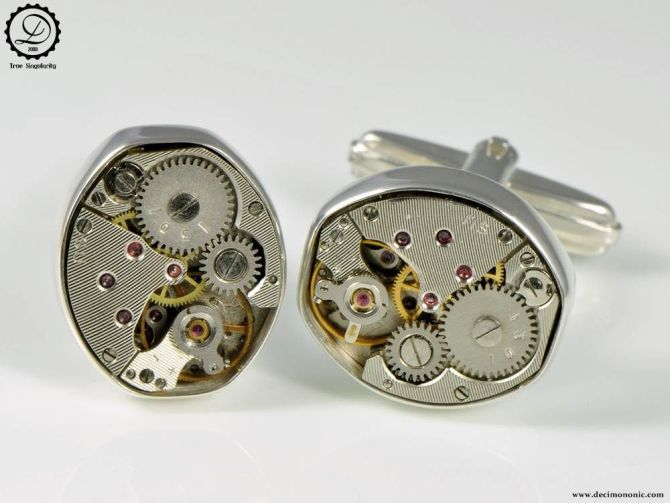 Decimononic Pez cufflinks by Decimononic | Sterling silver cufflinks with vintage watch movement