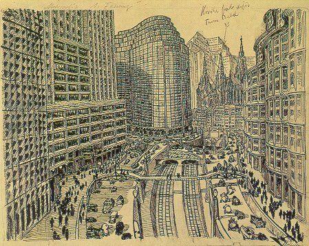 Metropolis - Opening cityscape v1 sketch - Erich Kettelhut