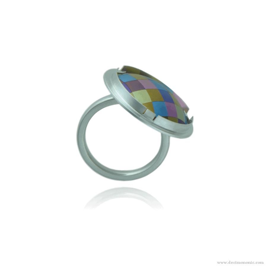Emilie flöge tribute - Sterling silver and anodized titanium ring by Decimononic