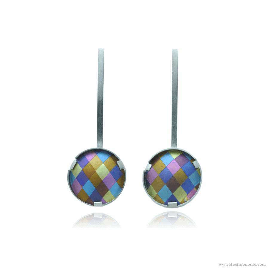 Emilie flöge tribute - Sterling silver and anodized titanium earrings by Decimononic