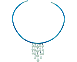 Blue titanium rigid choker 'rain of pearls' - Nautilus Collection by Decimononic