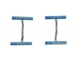 Blue titanium round bar cufflinks - Nautilus Collection by Decimononic