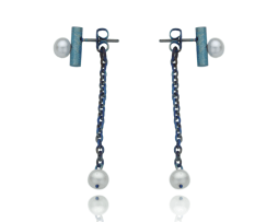 Blue titanium earrings 'One tear' - Nautilus Collection by Decimononic