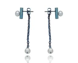 Blue titanium earrings 'One tear' - Nautilus Collection by Decimononic