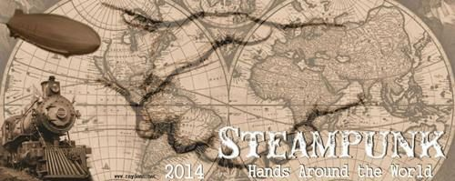 Steampunk hands around the world - banner by Ray Dean