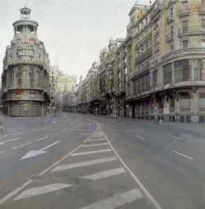 La Gran Vía 1974-1981. Óleo sobre tabla Antonio López