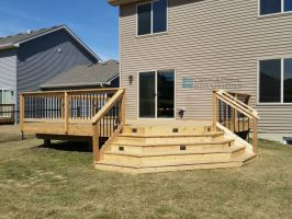Simple Cedar Deck with Corner Stairs for Patio Expansion ...
