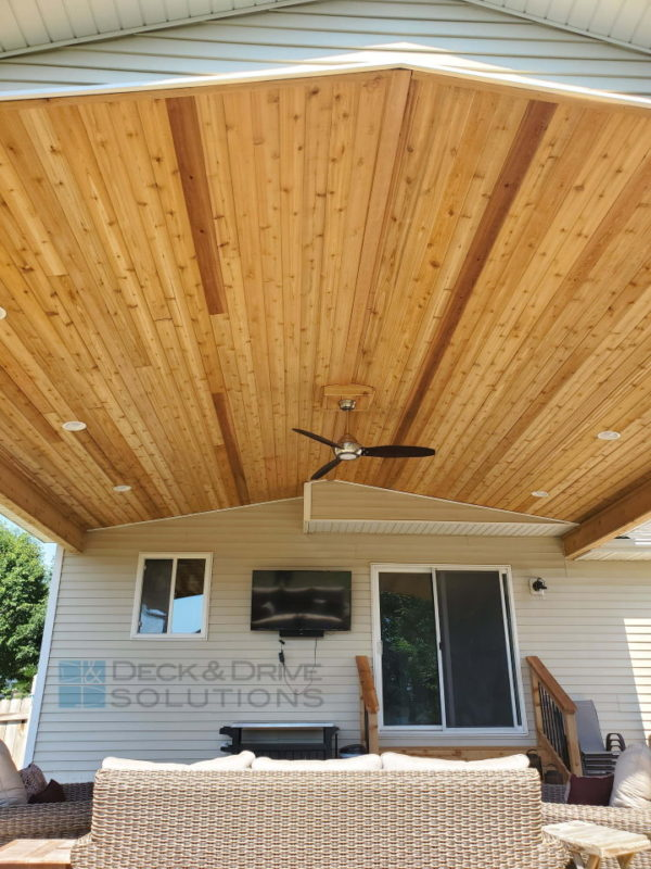 covered patio with cedar ceiling deck