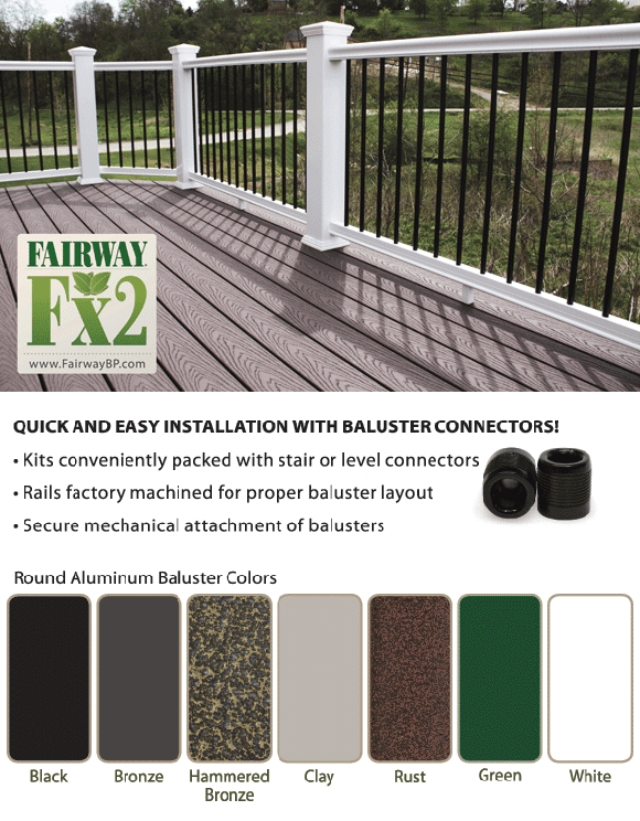 Fairway Vinyl Composite Railing W Aluminum Balusters At Deck | White Railing Black Spindles | Paint | Wrought Iron | Porch Railing | Iron Balusters | Aluminum Balusters
