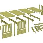 Terrasse mobil home Deckit - Gamme Malte : vue éclatée