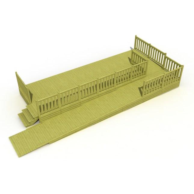 Terrasse mobil home avec rampe PMR