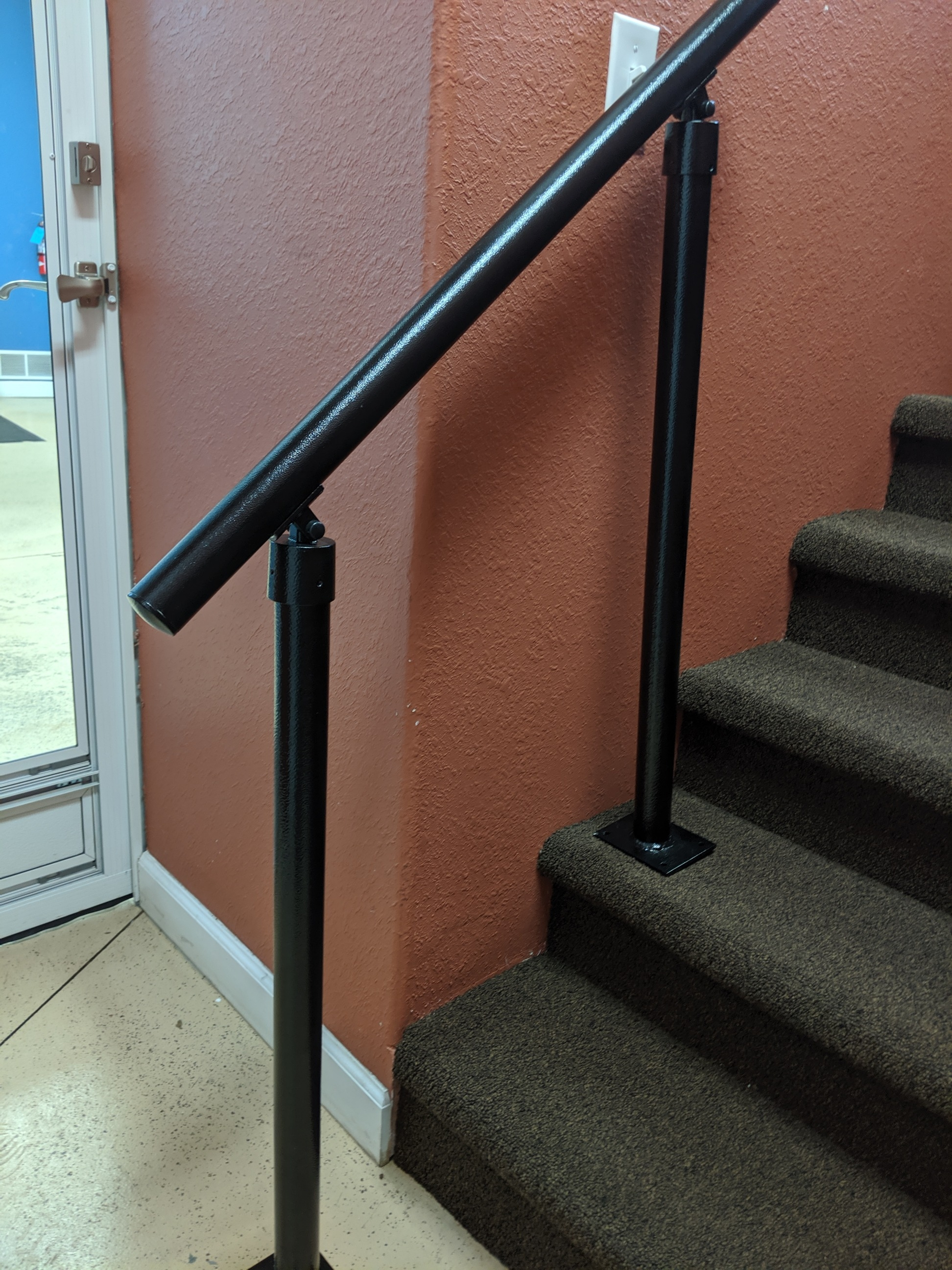 2 And 3 Step Interior Or Exterior Grade Porch Handrail With Posts   Aluminum Steps With Handrail   Boat Dock   Wheelchair Ramp   Stair Treads   Folding   Stair System