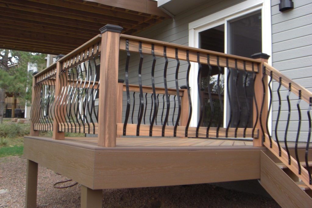 Deck Railings Colorado Springs Decks By Schmillen   Wood Railing With Metal Balusters   Metal Baluster Drywall   Modern   Tree Branch Iron   Before And After   Deck