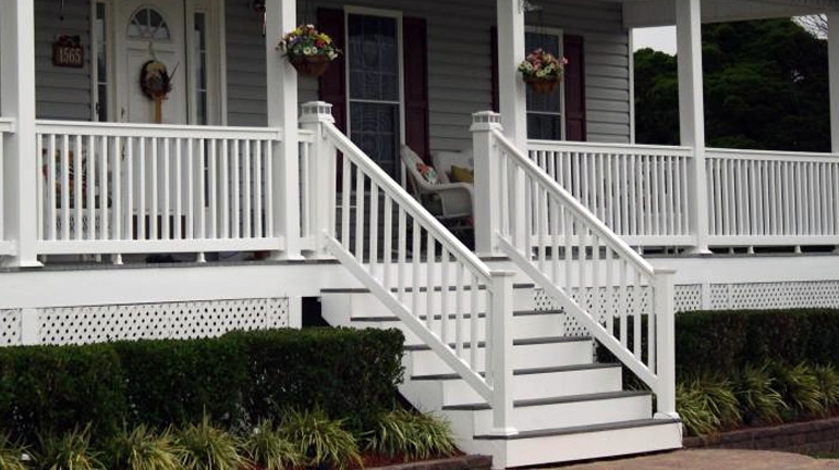 Composite Vinyl Stair Railing Decksdirect   Outdoor Handrails For Concrete Steps   Contemporary   Hand Rail   Precast   Stair   Water Pipe