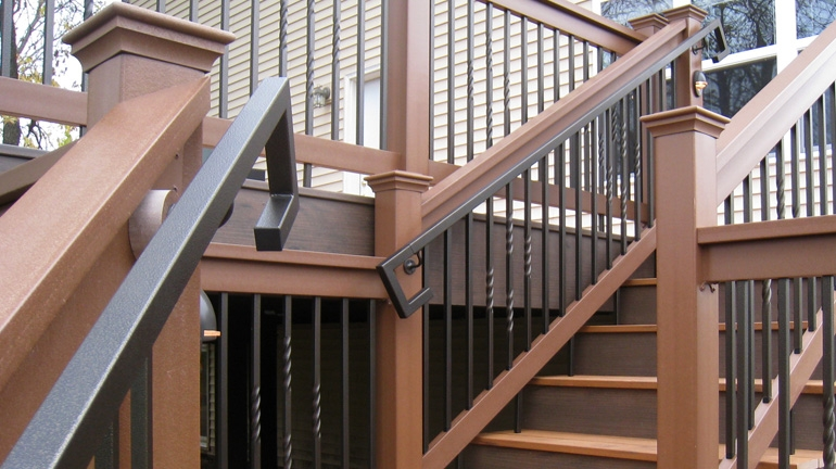 Metal Deck Handrails Deck Stair Railing Aluminum Steel | Ada Compliant Exterior Handrails | Deck Railing | Hand Rail | Cable Railing | Wheelchair Ramp | Stair Railing