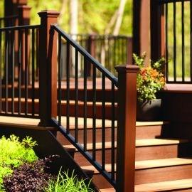 Metal Stair Railing Outdoor Porch Railing Decksdirect | Outdoor Stair Railings Near Me | Porch Railings | Front Porch | Composite | Metal Stair | Stair Treads