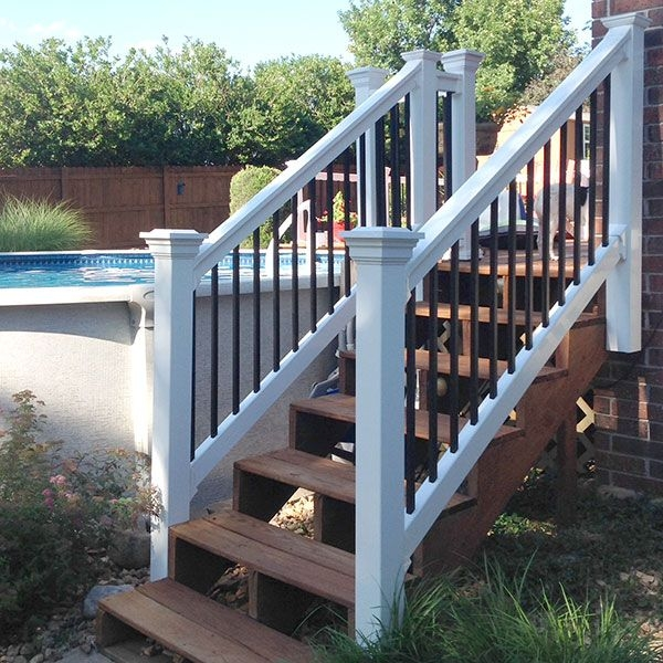 The Bradford Vinyl Stair Rail Kit By Durables Decksdirect | Stair Railing And Balusters | Brushed Nickel | Free Standing | Inexpensive | Deck | Wood