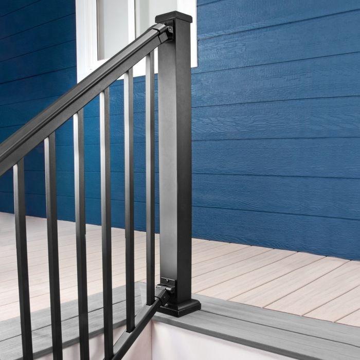 Adjustable Aluminum Stair Railing Kit Afco Pro Decksdirect | Black Aluminum Stair Railing | Exterior | Modern | Steel | Cable Rail | Deckorators