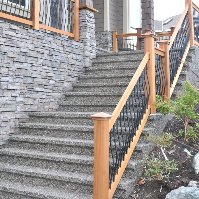 Tuscany Wood Deck Stair Railing By Vista Decksdirect   Wood Deck Stair Railing   Step   4X4 Deck   Interior   Underneath Bracket   Gray Deck Black