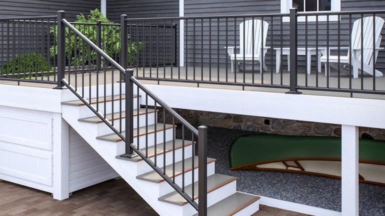 Deckorators Alx Classic Aluminum Deck Railing System   Installing Aluminum Stair Railing   Baluster   Deck Stair   Balcony Deck   Railing Systems   Pressure Treated