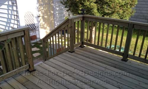 Building Wooden Railings Installing Wood Deck Railing Posts And | Wood Railing On Concrete Porch | Surface Mount | Wood Decorative | Vinyl | Front Entry Stair | Bluestone Patio