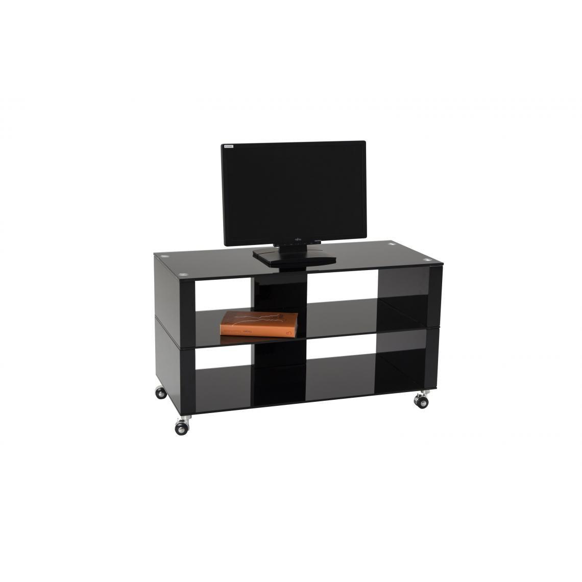 meuble tv a roulettes 90x42cm verre noir chelsea