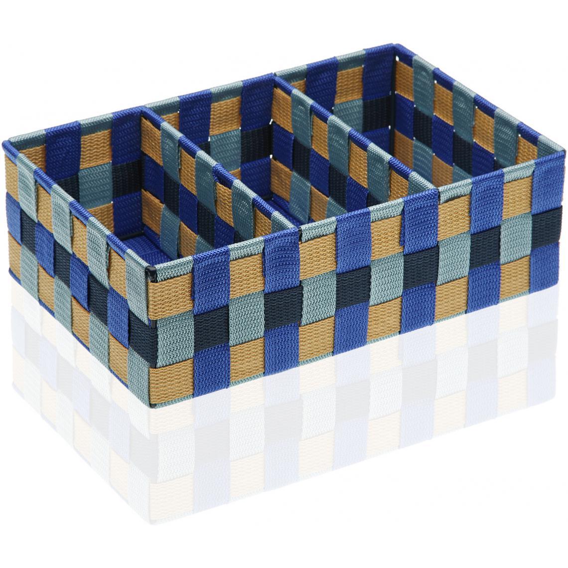 panier de rangement 3 compartiments bleu bay