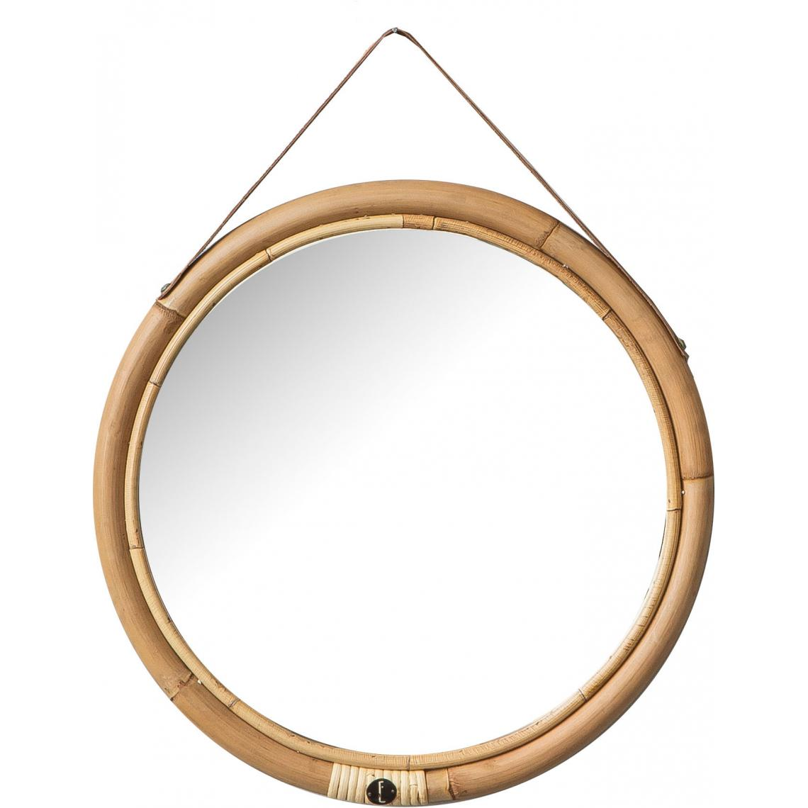 miroir rond o42 cadre en rotin et sangle en cuir bolivia