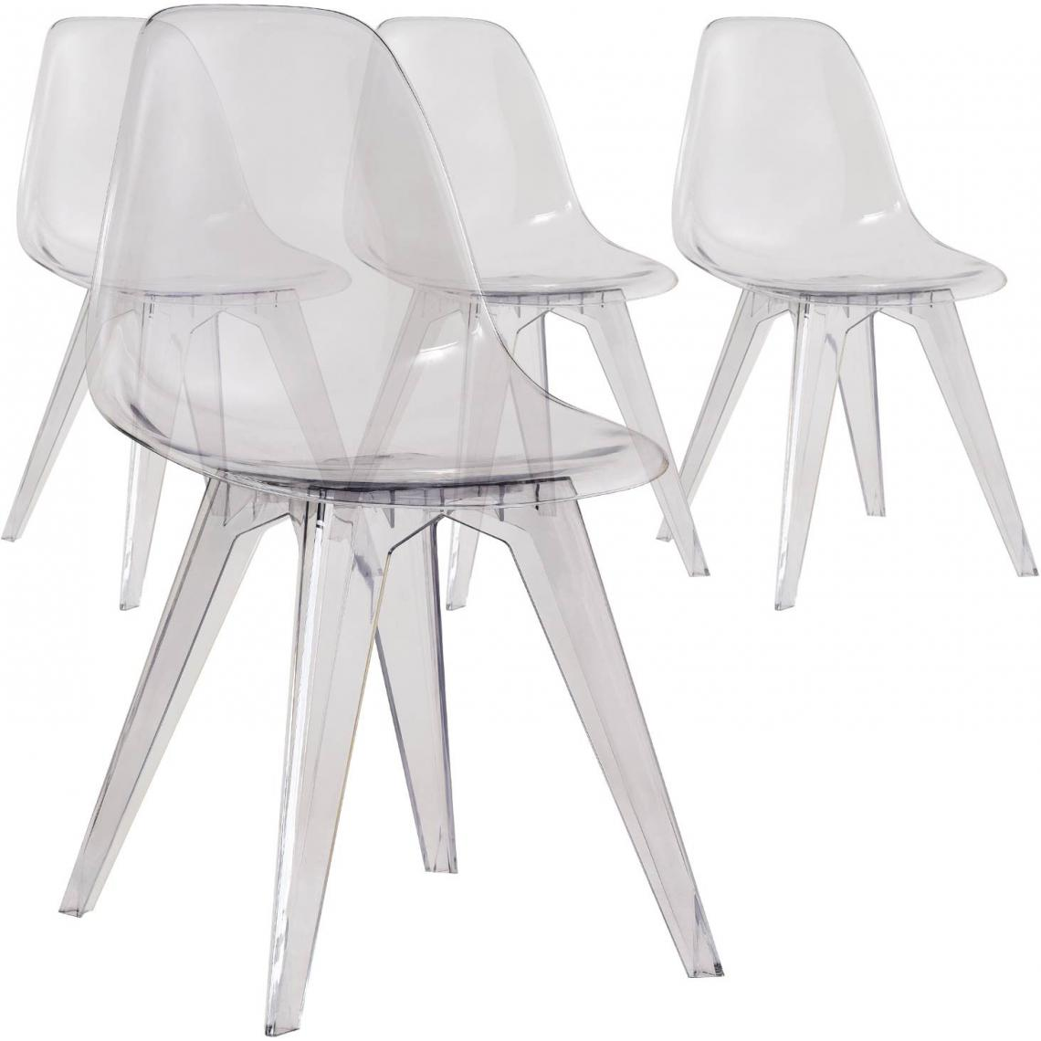 lot de 4 chaises transparentes plexy