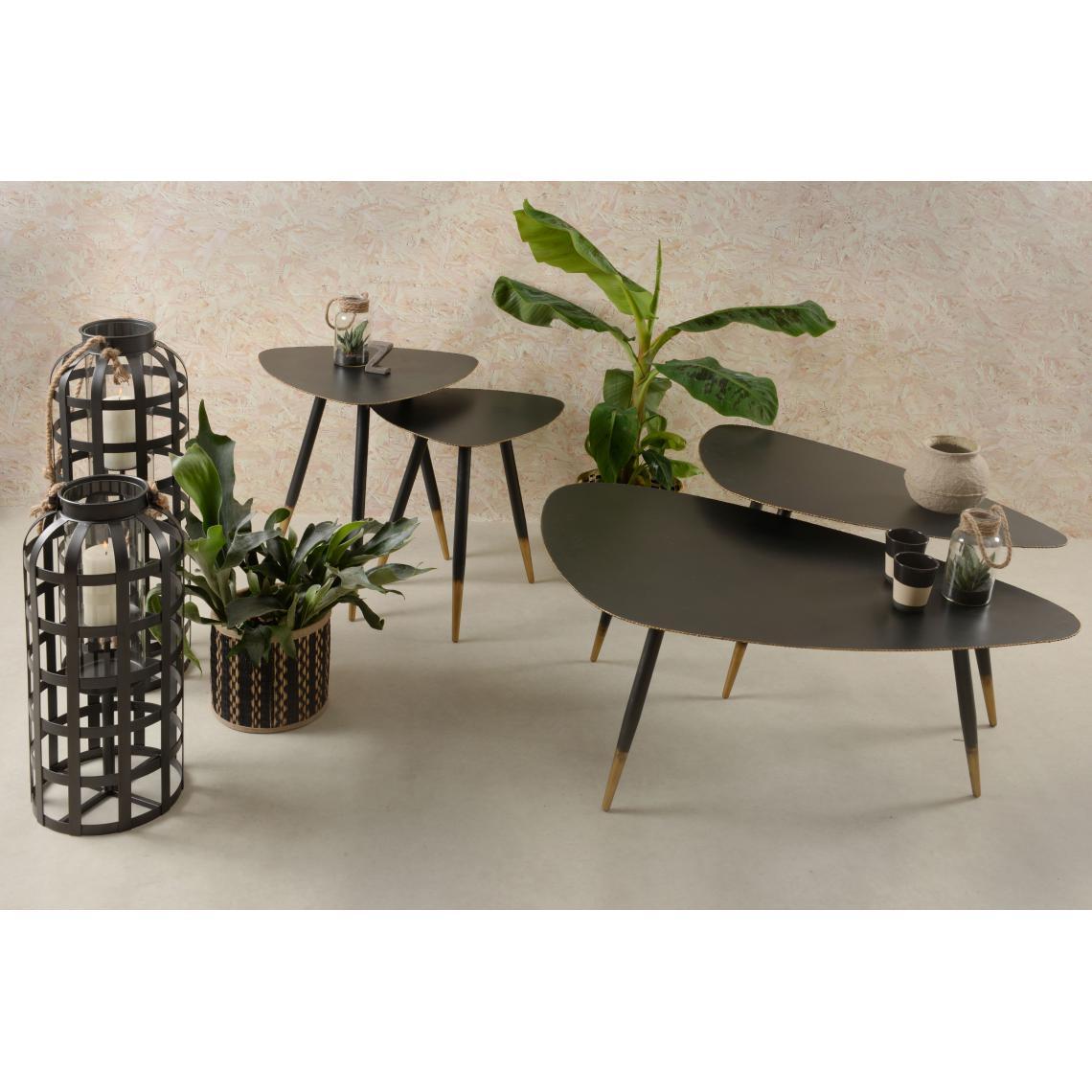table basse 45cm en metal noir et dore