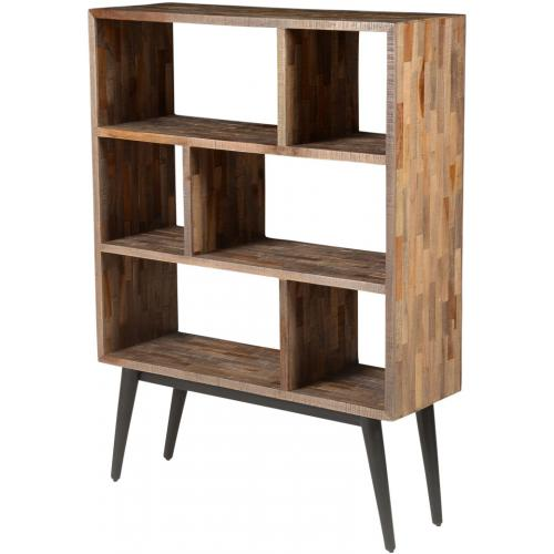 bibliotheque 6 niches en teck marron et metal noir nash