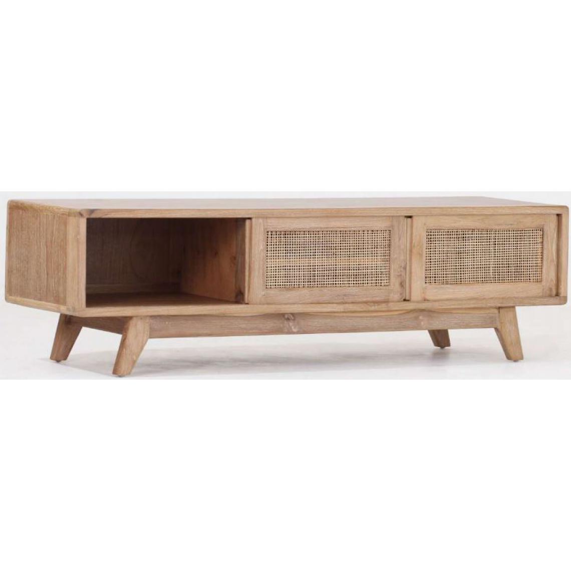 meuble tv avec 2 portes coulissantes en teck massif beige clemence
