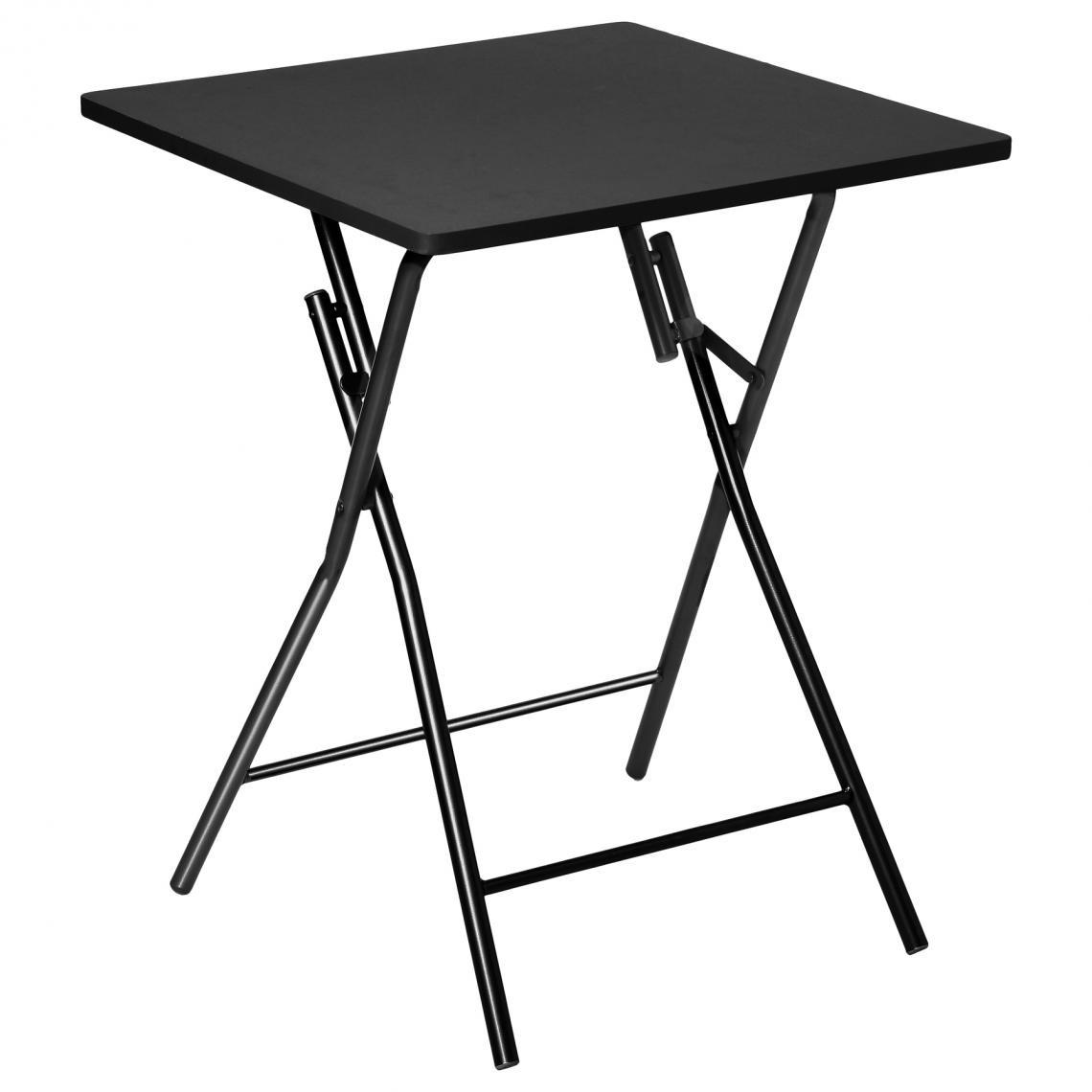 table pliante noir pietement en acier noir practy