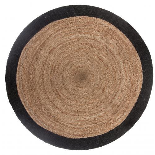 tapis en jute beige bordure noire d120cm naturi